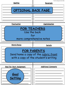 Writing Rubric for Primary Grades: Teacher and Kid Friendly
