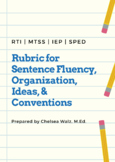 Writing Rubric for Sentence Fluency, Organization, Ideas, & Conventions