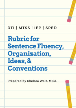 Writing Rubric for Sentence Fluency, Organization, Ideas,