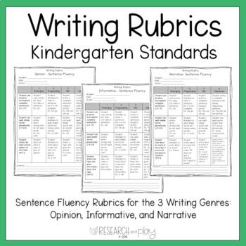 Kindergarten Writing Rubrics for 3 Genres - Opinion, Informative, Narrative