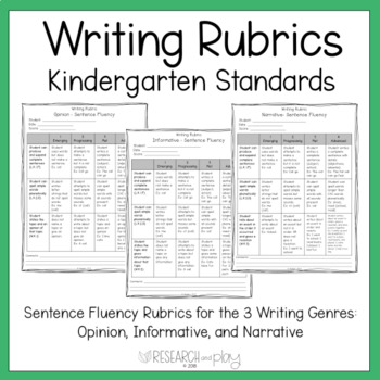 Kindergarten Writing Rubrics: Opinion, Informative, and Narrative