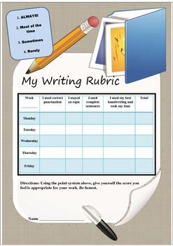 Writing Rubric for self monitoring