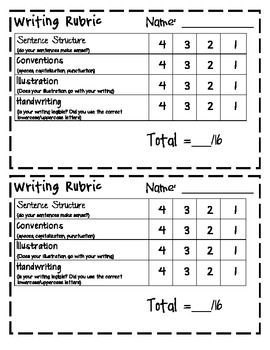 Writing Rubric (out of 20 or 16)