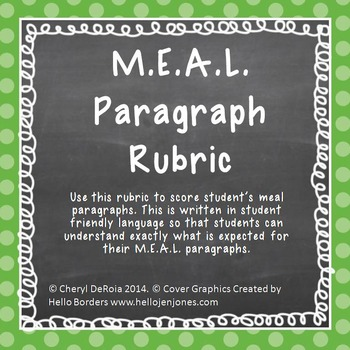 Writing Rubric-use with text-based evidence paragraphs, M.E.A.L. Paragraphs