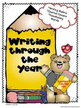 Writing Rubric with Journal Covers~Monthly Vocabulary~Writ