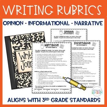 Writing Rubrics - 3rd Grade Opinion, Informative, Narrative