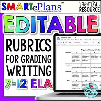 Editable Writing Rubrics Bundle for secondary English