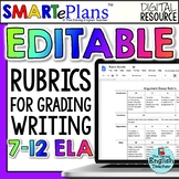 Editable Writing Rubrics Bundle for secondary English