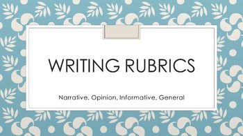 Writing Rubrics Editable