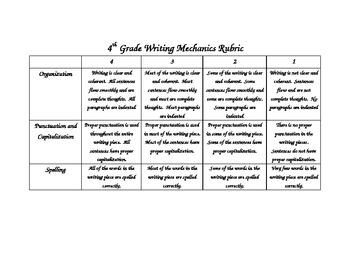 Writing Rubrics Grade 4