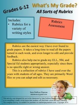 Writing Rubrics! Save time and your sanity!