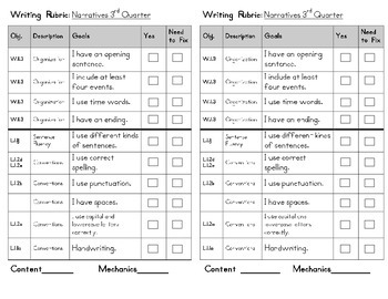 Writing Rubrics for First Grade (all text types)