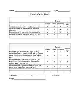 Writing Rubrics for Narrative Expository and Argumentative Writing