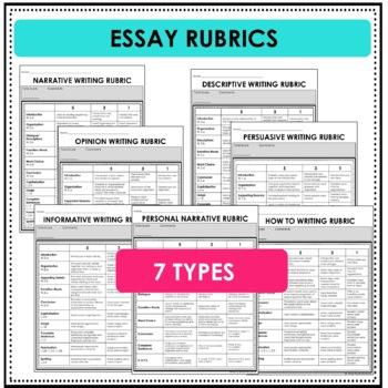 Writing Rubrics- Paragraph Rubrics -Essay Rubrics- Editable