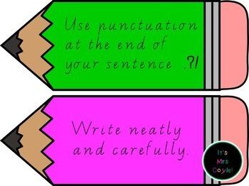 Writing Rules Pencil Display Vic Modern Cursive