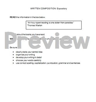 Writing STAAR Expository Practice Prompt: Favorite Book