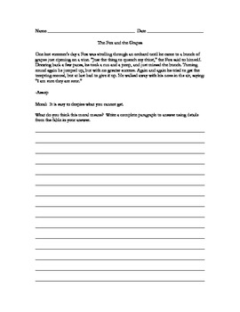 Common Core Writing Sample from Fable