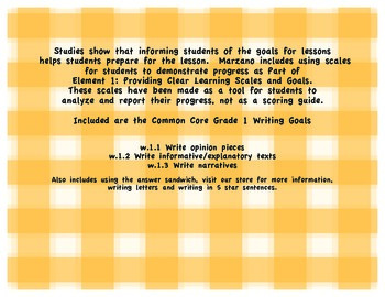 Writing Scales: Meets Common Core Writing Standards and Marzano Goals and Scales
