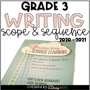 Writing Scope & Sequence w/Daily Activities and Calendar: 3rd Grade