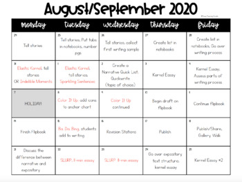 Writing Scope & Sequence w/Daily Activities and Calendar: 5th Grade