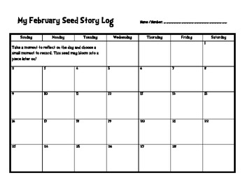 Writing Seed Story Log 2013-2014