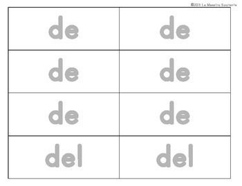 Writing: Sentence Building Cards: Prepositions and Conjunctions Only (Spanish)