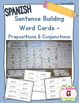 Writing: Sentence Building Cards: Prepositions and Conjunc