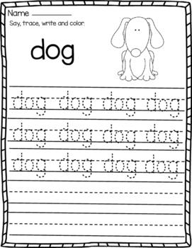 CVC Words Writing Sentence  Worksheets for Kindergarten: