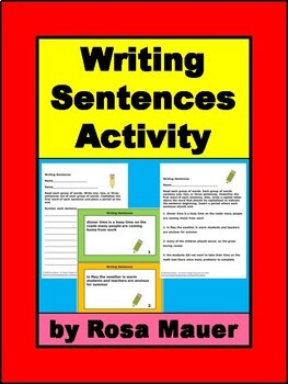 Writing Sentences Activity