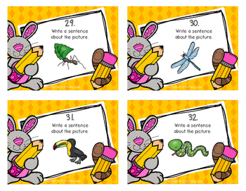 Writing Sentences: Animals Task Cards