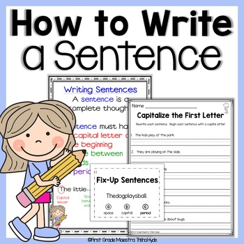 Writing Sentences Basics With Poster How to Write a Sentence