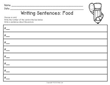 Writing Sentences: Food Task Cards