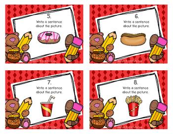 Writing Sentences: Food Task Cards