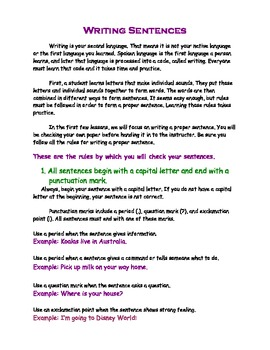 Writing Sentences *Free Lesson*