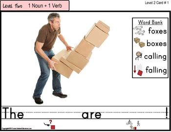 Writing Sentences LARGE Task Cards for Autism with Visual Word Bank and Data