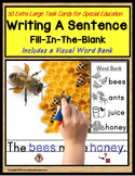 Writing Sentences | LARGE Task Cards for Autism with Visua