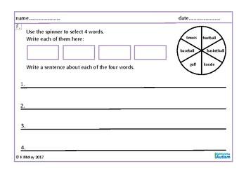 Writing Sentences, Leisure, Hobbies, Sports, Autism & Special Education