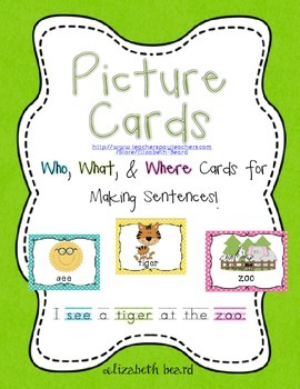 Writing Sentences Picture Cards