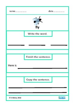Writing Sentences Picture Prompts Animals Insects Autism Special Education