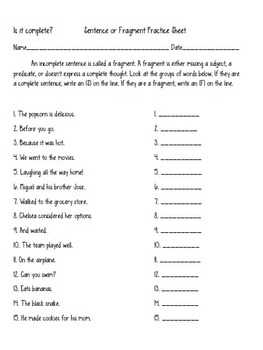 Writing Sentences: Practice Printables with subjects, predicates and verbs!