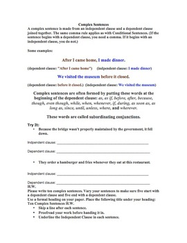 Writing Sentences Review