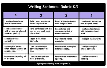 Writing Sentences Rubric