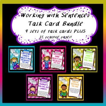 Sentences Task Card Bundle -  Subjects, Predicates, Run-Ons, Fragments, Types