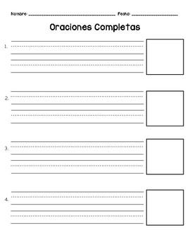 FREE Writing Sentences Template Escribiendo Oraciones con un Dibujo