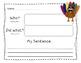 Writing Sentences Thanksgiving and Fall Theme -Naming and Telling Parts
