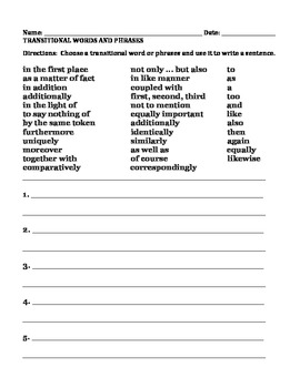 WRITING SENTENCES:  TRANSITIONAL WORDS AND PHRASES