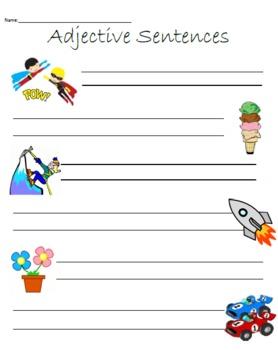 Writing Sentences Using Adjectives