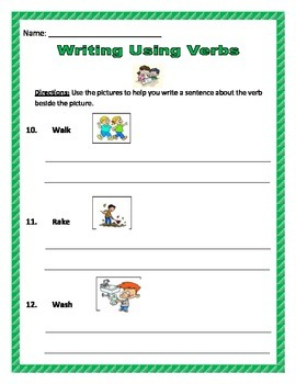 Writing Sentences Using Verbs and Pictures - Common Core.