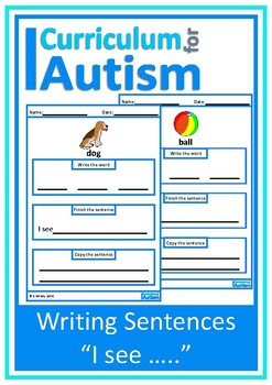 "Autism, Writing Sentences Picture Prompts,""I see"", Special Ed, Speech Therapy"