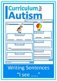 """Writing Sentences Picture Prompts """"I see"""" Autism Special Education Speech"""